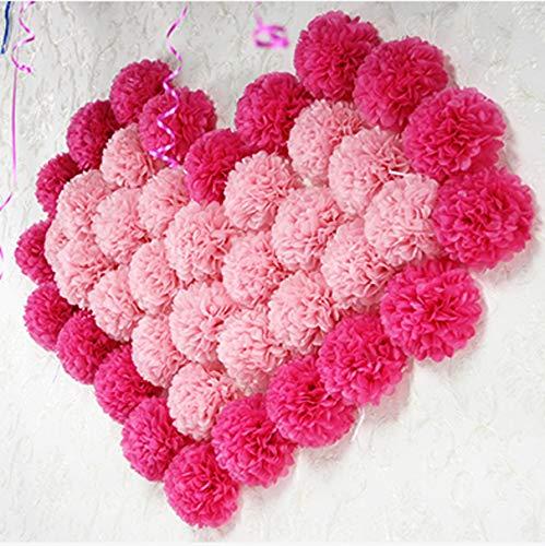 Lot de 27 pompons en papier de soie à suspendre pour décoration de fête d'anniversaire de mariage (rose + rose clair + rose)
