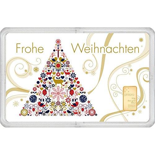 Geschenkkarte Weihnachten mit Goldbarren 0,5g philoro Feingold 999.9 LBMA zertifiziert