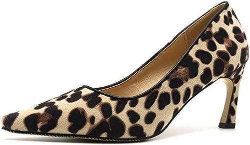 schuhe De Tacón damenes Europeas Y Americanas De Gamuza 7Cm Personalidad Cómoda Salvaje Leopardo Sexy Punta Puntiaguda Stilettos