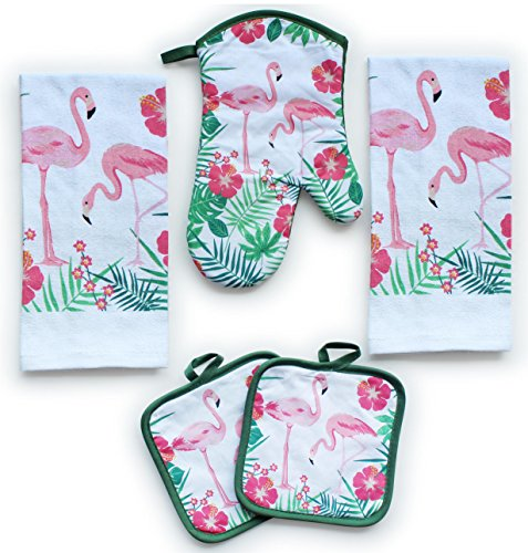 American Mills Pink Flamingos Decor 5 Piece Printed Kitchen Linen Set Includes Towels Pot Holders Oven Mitt