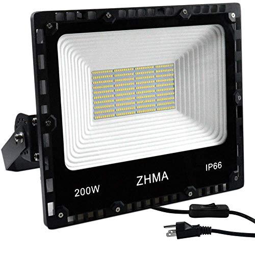 ZHMA 200W LED Flood Light Outdoor, 20000lm Super Bright Work Lights, IP66 Waterproof Security Light with Plug & Switch, 6500K White Spotlight for Garden, Yard, Garage, Basketball Court Lighting