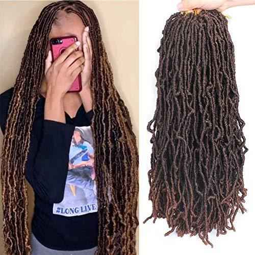 Xtrend 6 Packungen 61 cm Nu Faux Locs Crochet Braids Haarverlängerungen Gewellte Göttin Faux Locs Ombre Synthetic Braiding Hair Gewellte Gpysy Soft Locs Crochet Hair 21 Strähnen/Pack 1B/30#