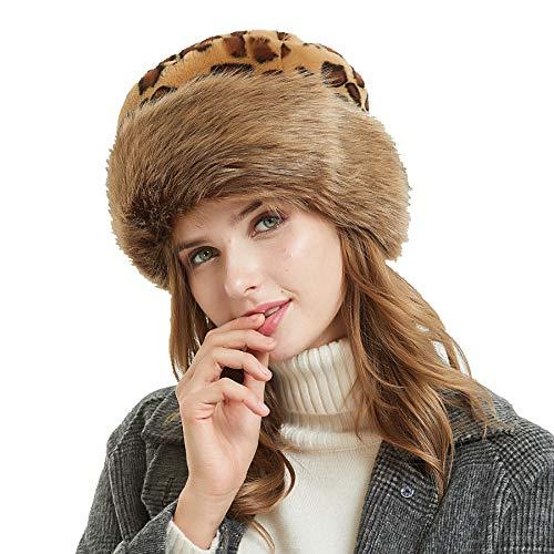 soul young Fellmütze Pelzmütze Damen mütze Wintermütze Faux Fuchs Pelz Warm Weich Leoparden Hut EINWEG Verpackung(Braun Leoparden)