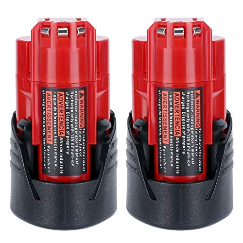 Lasica 2-Pack 12V M12 Lithium Battery 3.0Ah 48-11-2401 for Milwaukee M12 Battery XC 48-11-2402 48-11-2411 48-11-2420 48-11-2450 48-59-1812 C12BX 48-59-2401 Milwaukee M12 Cordless Power Tools