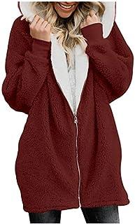 Momoxi - Abrigo con capucha de lana cálida para invierno, con cremallera, forro polar, color liso
