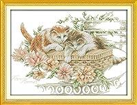 クロス ステッチ DIY 手作り刺繍キット 正確な図柄印刷クロスステッチ11CT 家庭刺繍装飾品 猫と花 40X50CM