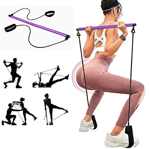 PLEASION Yoga Pilates Bar Reformer Kit, tragbare Pilates Stick Fitness Bar, Pilates Exercise Resistance Band,Heimgymnastik Pilates mit Fußschlaufe für Ganzkörpertraining (Purple)
