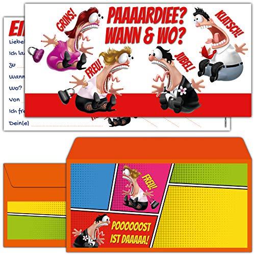 12-er Set Einladungskarten KOLLEGEN mit Umschlägen - Geburtstags-Einladungen für Erwachsene Jungen Mädchen Kinder-Geburtstag Party von BREITENWERK