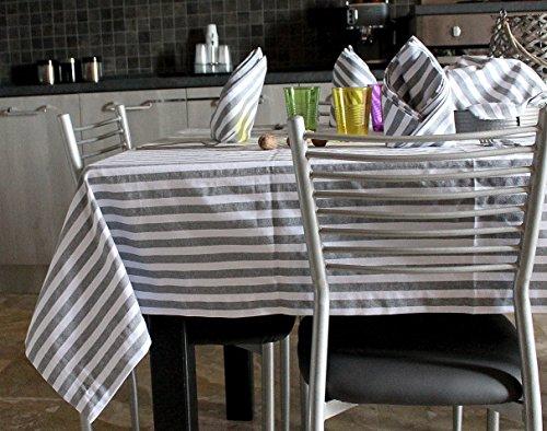 Tischdecke und Servietten - Baumwolle 100% Muster METROPOLITAN - FARBE: grau und weiß