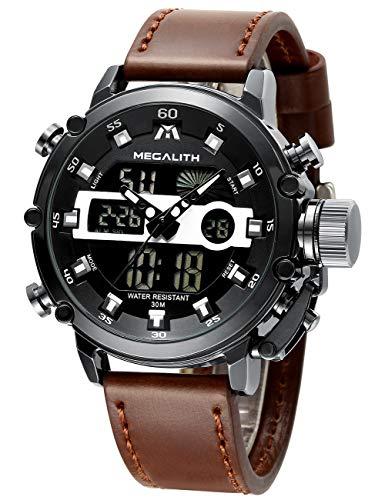 MEGALITH Herren Uhren Männer Militär Digitaluhr Sport Chronograph LED Wasserdicht Großes Braun Leder Armbanduhren Mann Multifunktions Digital Analog Wecker Datum Modisch Uhr