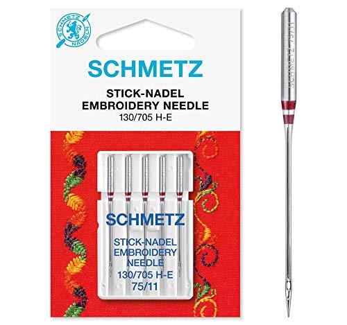 SCHMETZ Nähmaschinennadeln 5 Stick-Nadeln | 130/705 H-E | Nadeldicke: 75/11| geeignet für das Sticken mit Stickmaschinen und das Nähen mit alle gängige Haushalts-Nähmaschinen