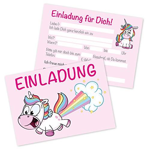 Clever Pool Einhorn-Einladungskarten - 15 Stück in einem Set - Kindergeburtstagskarten für Mädchen - vielseitig einsetzbare Einladungen - hochwertig und edel - mit praktischer Ausfüllhilfe