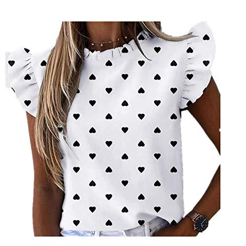 N\P Elegante impresión de rayas de las mujeres blusa camisa casual verano mariposa manga corta camisas oficina señora volantes o cuello tops