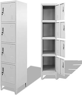 mewmewcat 4 Compartiments Armoire à Casiers en Acier avec 38 x 45 x 180 cm (l x P x H)