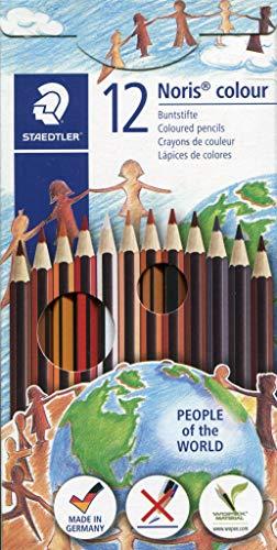 STAEDTLER Noris 185 C12 POW - Lápices Ecológicos de Colores de Tonos de Piel, Caja de 12 Unidades