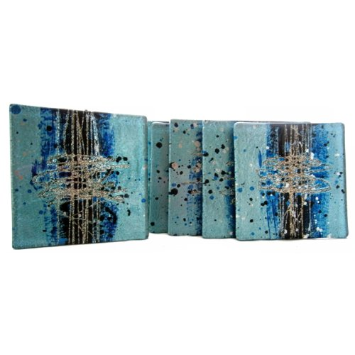 Glass Coasters set of 4 cosmos, blue with silver by Aspire Art Glass