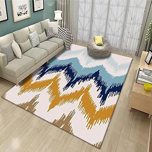 CLYDX Alfombras Salon Habitación Alfombra Pasillo Lavables Rug Dormitorio Sala de Estar Alfombra Antideslizante Alfombra para el Juego de los niños Decora el 60x90 cm (Colorful Art)