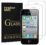 ivoler [2 Unidades] Protector de Pantalla para iPhone 4S / iPhone 4, Cristal Vidrio Templado Premium [9H Dureza] [Ultra Fina 0,3mm] [2.5D Round Edge]