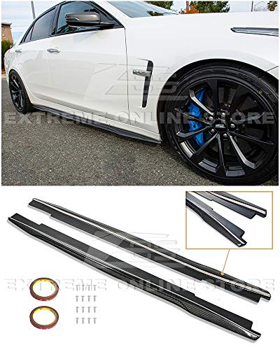 Replacement for 2016-2019 Cadillac CTS-V | EOS Carbon Package Style Carbon Fiber Side Skirts Rocker Panel Extensions