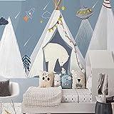 MILUSEN Oso polar de dibujos animados con mural de conejo blanco, fondo azul estrellado