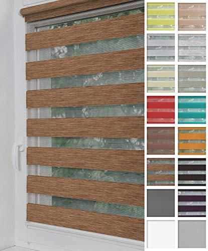 Home-Vision® Duo Rollo Klemmfix, Doppelrollo ohne Bohren mit Klämmträgern, Rollos für Fenster und Türen (Holzlook Gold, B100cm x H150cm)