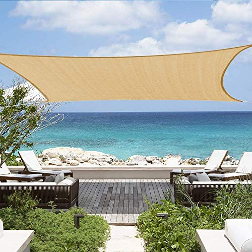 #NA Sun Shade Sail Canopy Awning Rectangle 6.5' x 10' 95% UV Block for Outdoor Patio Yard Garden Hammock Pergola Swimming Pool, Beige