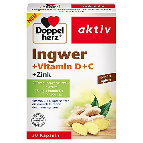 Doppelherz Ingwer – Vitamin C, Vitamin D und Zink leisten einen Beitrag für die normale Funktion des Immunsystems – 30 pflanzliche Kapseln