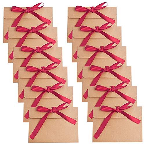 Sobres Papel Kraft Retro,BETOY 30 PCS Papel Kraft Rojo Portátil y Práctico Sobres de Felicitaciones e Invitaciones para Invitaciones, Escritura, Postales, Regalos,Boda,Fiesta, Día de San Valentín