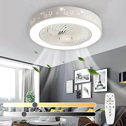 Ventilador de techo LED moderno con luz regulable con control remoto y temporizador Luz de techo de metal de 3 velocidades de viento ajustable con ventilador para sala de estar dormitorio Ø55cm