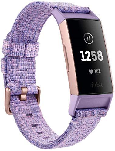 Fitbit Charge 3 NFC. Tracker Zdrowia i Fitnessu, Tkanina Lawendowa/Aluminium Różowe Złoto (W Zestawie Bransoletka Zastępcza w Kolorze Czarnym), Rozmiar Uniwersalny, FB410RGLV-EU