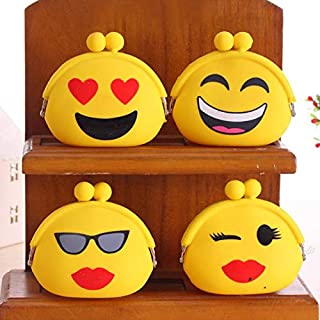 Cute Emoji (Random 3pc) Small Coin Purse Pouch for Earphone Earphones Coin Coins Credit Debit Card Money Cash Jewellery Memory Card Pouch case Wallet Purse Gift Gifts for Girls Womens