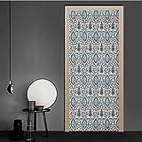 Türtapete, gestreiftes handgezeichnetes Muster, basierend auf einem traditionellen Ornament...