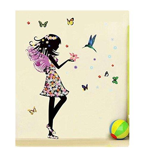 Tefamore DIY Pegatinas de Pared de Vinilo Removible Hogar La Muchacha hermosa de las alas del ángel florece la mariposa