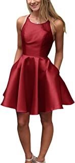 JONLYC A-Line Halter Open Back Short Homecoming Dresses with Pockets