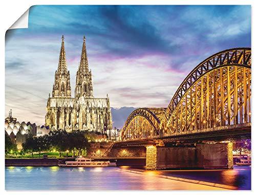Artland Poster Kunstdruck Wandposter Bild ohne Rahmen 40x30 cm Beleuchteter Dom in Köln mit Brücke und Rhein bei Sonnenuntergang T0MM