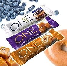 ONE Bar Protein 12 bars Variety Pack - Glazed Donut, Blueberry Cobbler, Salted Caramel (Variety)