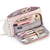 EASTHILL Large Capacity Colored Canvas Storage Pouch Marker Pen Pencil Case Simple Stationery Bag Holder For Middle High School Office College Student Girl Women Adult Teen Gift White Plaid
