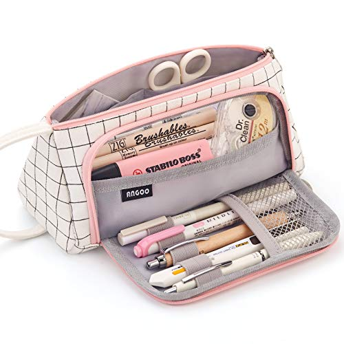 EASTHILL Large Capacity Colored Canvas Storage Pouch Marker Pen Pencil Case Simple Stationery Bag...