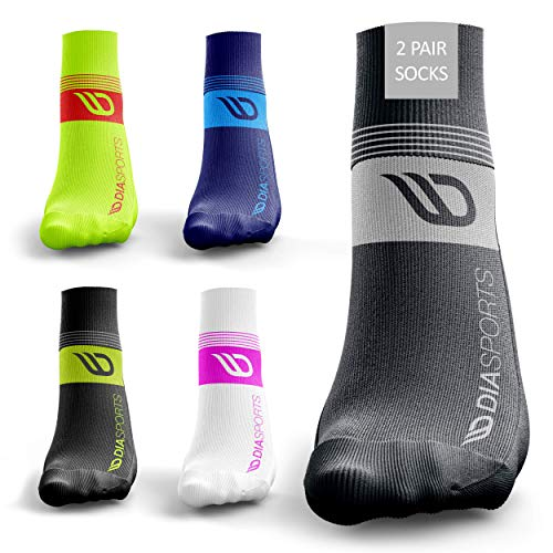 Laufsocken RUNICKS für Damen und Herren (2 Paar) - Sportsocken für Winter und Sommer zum Joggen - Fitnesssocken gegen Druckstellen und Schweißfüße (Grau, 43-47)