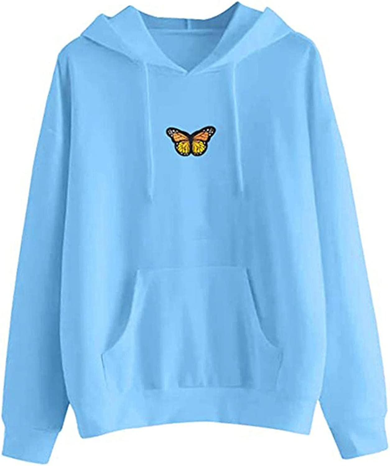 Hoodies for Women with Designs Aesthetic,Teen Girls Casual Long Sleeve Sweatshirts Butterfly Drawstring Lightweight Tops