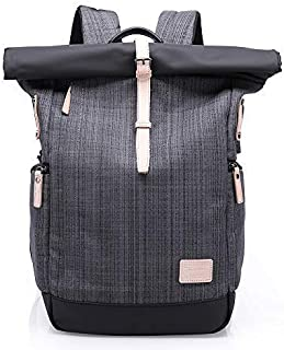 Canvas Backpack,Vintage Business Computers Laptop Backpack with USB Charging Port,School College Bookbag