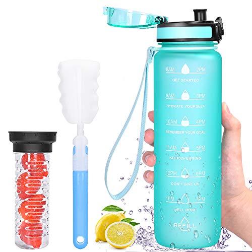 Botella de bebida con contenedor de fruta, 1L botella de agua motivadora de con sello de tiempo, A prueba de fugas, sin BPA, con cepillo de limpieza, 1 clic abierto, Menta