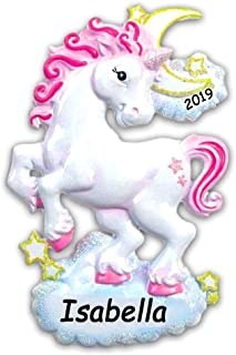 Personalized Glitter Unicorn with Pink Hair Mane and Stars Hanging Christmas Tree Ornament with Your Choice of Custom Name and Year (Optional)