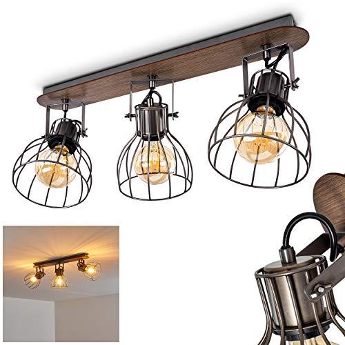 Deckenleuchte Bitterroot, Deckenlampe aus Metall/Holz in Grau/Braun, 3-flammig, mit verstellbaren Strahlern, 3 x E27-Fassung max. 40 Watt, Spot im Retro/Vintage Design, LED geeignet