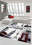Traum Tappeto Designer Tappeto moderno salotto tappeto London Scene Crema Grigio Rosso Größe 120x170 cm