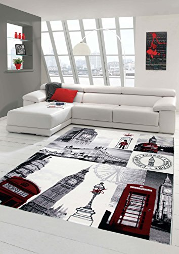 Designer Teppich Moderner Teppich Wohnzimmer Teppich London Motiv Creme Grau Rot Schwarz Größe 80x150 cm