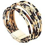 SODIAL Mode Tier Leoparden Muster Armband Wickel Armband Fuer Legierung Rohr Mehr Schichtigen Armreif Schmuck Geschenk