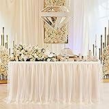 HBBMAGIC Tischrock,Tisch Tüll Champagner 275*76CM, Candy Tisch Tischdecke Tüll für Geburtstag Mädchen Dekoration, Baby Party,Candy Party,Candy Bar,Hochzeit, Ohne LED