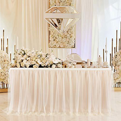 Falda de Mesa Tul Champán Faldas de Mesa Champán Faldones de Mesa Tutú para baby shower niña, baby shower, boda, cumpleaños, fiesta de cumpleaños infantil