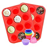 FJYDM Molde De Silicona para Muffins, Paquete De 2 Moldes De Silicona, Molde Antiadherente para Hornear Muffins con 12 Tazas De Silicona para Hornear para Muffins O Cupcakes